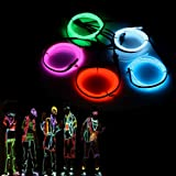 AUDEW 5x1m EL Wrie Neon Light Glowing Strobing Dance Party Costume Decor Light Flexible EL Rope Neon Sign Waterproof LED Strip With Controller Indoor Outdoor Halloween Decorations