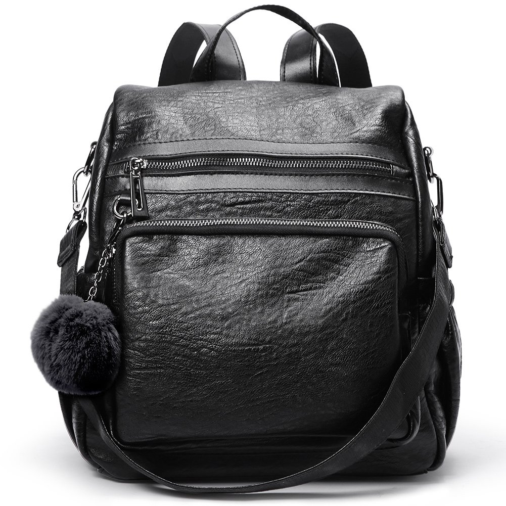 Backpack Purse for Women PU Leather Fashion Travel Detachable Covertible Ladies Shoulder Bag black by Cluci