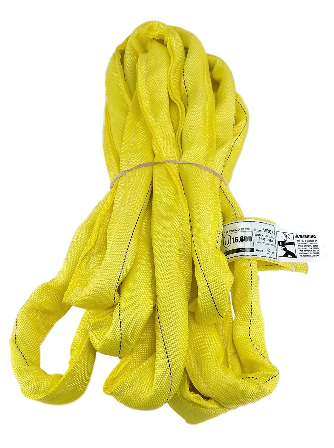 USA Made VR3 X 12' Yellow Slings 4'-30' Lengths In Listing, DOUBLE PLY COVER Endless Round Poly Lifting Slings, 8,400 lbs Vertical, 6,720 lbs Choker, 16,800 lbs Basket(USA Poly) (12 FT)