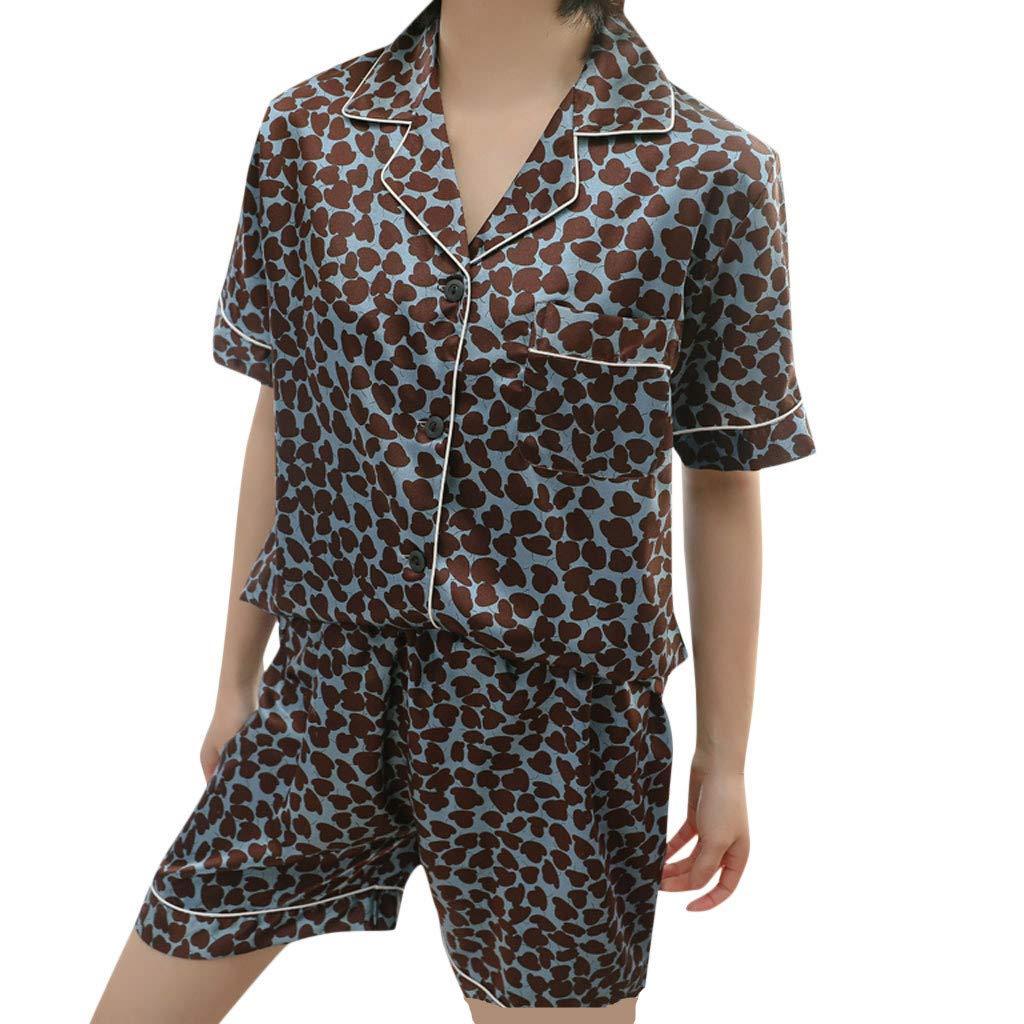 Huifa Summer Women Simulation Silk Printing Pattern Pajamas Short Sleeve Sleepwear Nightwear Short Set (Dark Blue,M)