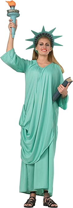 Ladies Fancy Dress Statue of Liberty Costume American Independence USA Novelty