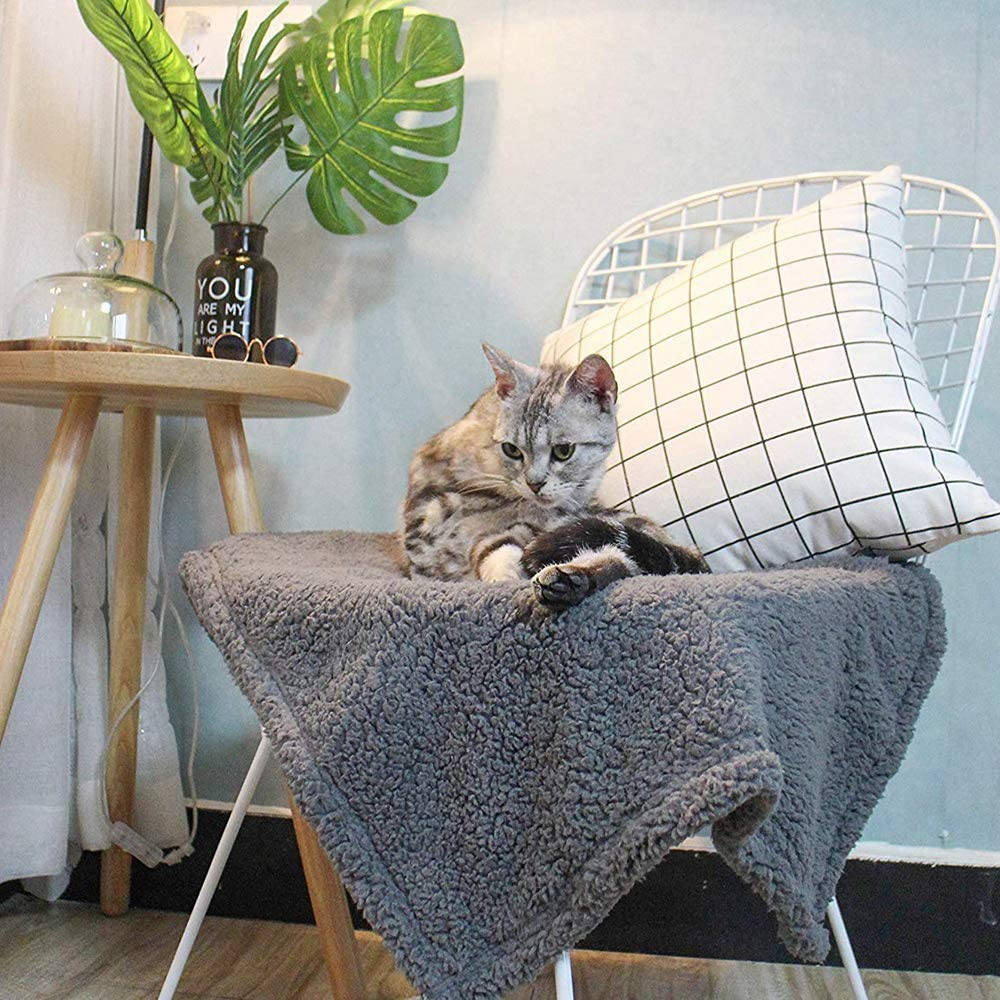 1 Piece Grey Fluffy Fleece Dog Blanket S Premium Soft and Warm Pet Throw Blankets Autumn Winter Snugly Sherpa Bed Couch Car Seat Cover Washable for Puppies and Cats