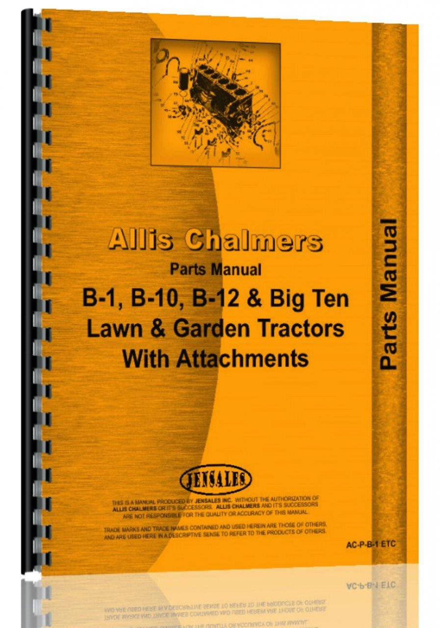 Read Online Allis Chalmers B-1 Lawn & Garden Tractor Parts Manual pdf epub