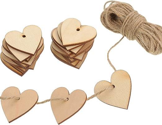 100 Stück Herz Holzscheiben DIY Handwerk Etikette Verzierungen