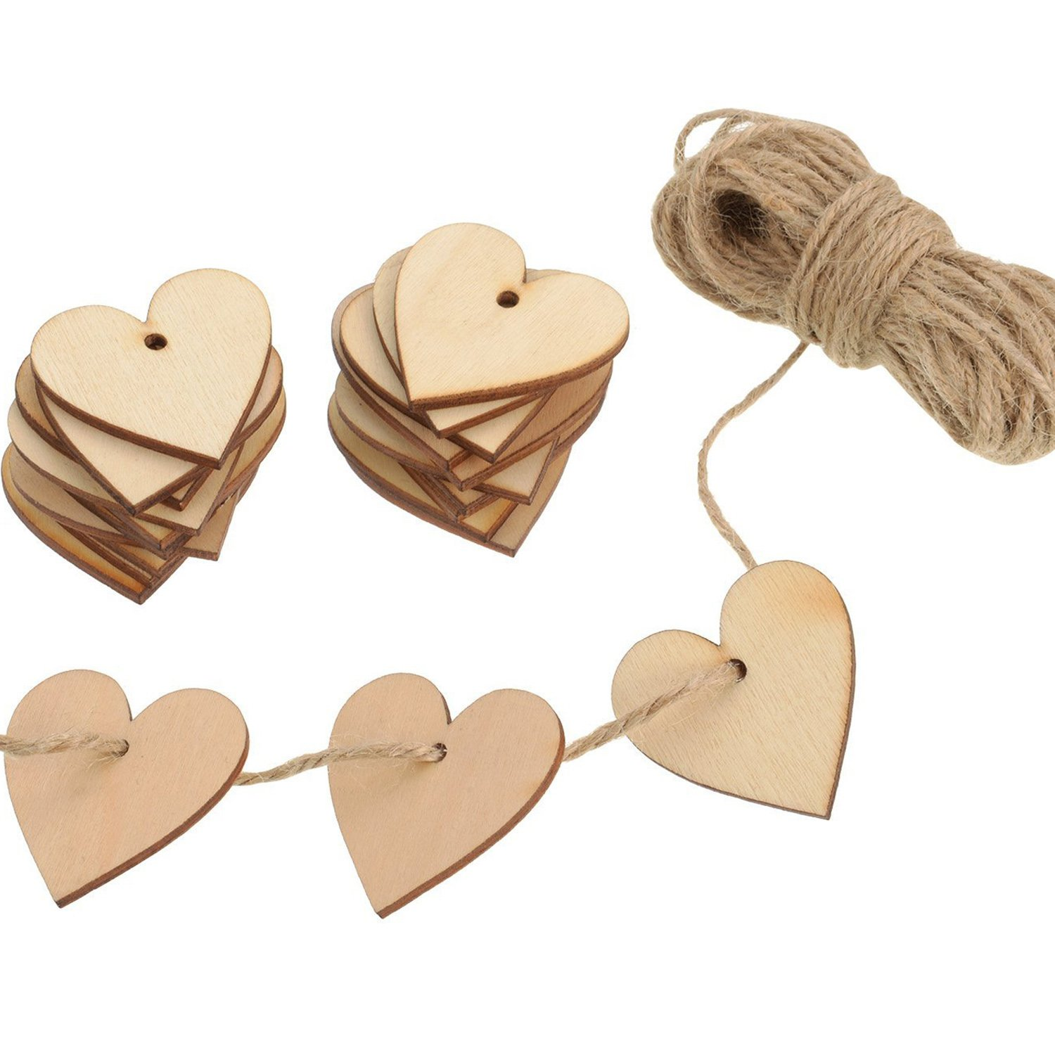 100 Pieces Wood Heart Blank Wooden Heart Embellishments 40 mm with 10 m Natural Twine for Wedding DIY Arts Crafts Card Making Valentine Decoration Outus 4336907232