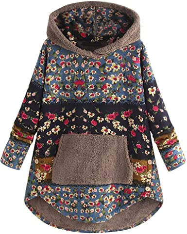 Amlaiworld Sweat à Capuche Femme Patchwork Pas Cher Pull en Cachemire Sweatshirt Hoodies Grande Taille Long Coton Veste Polaire Pullover Jacket Hiver