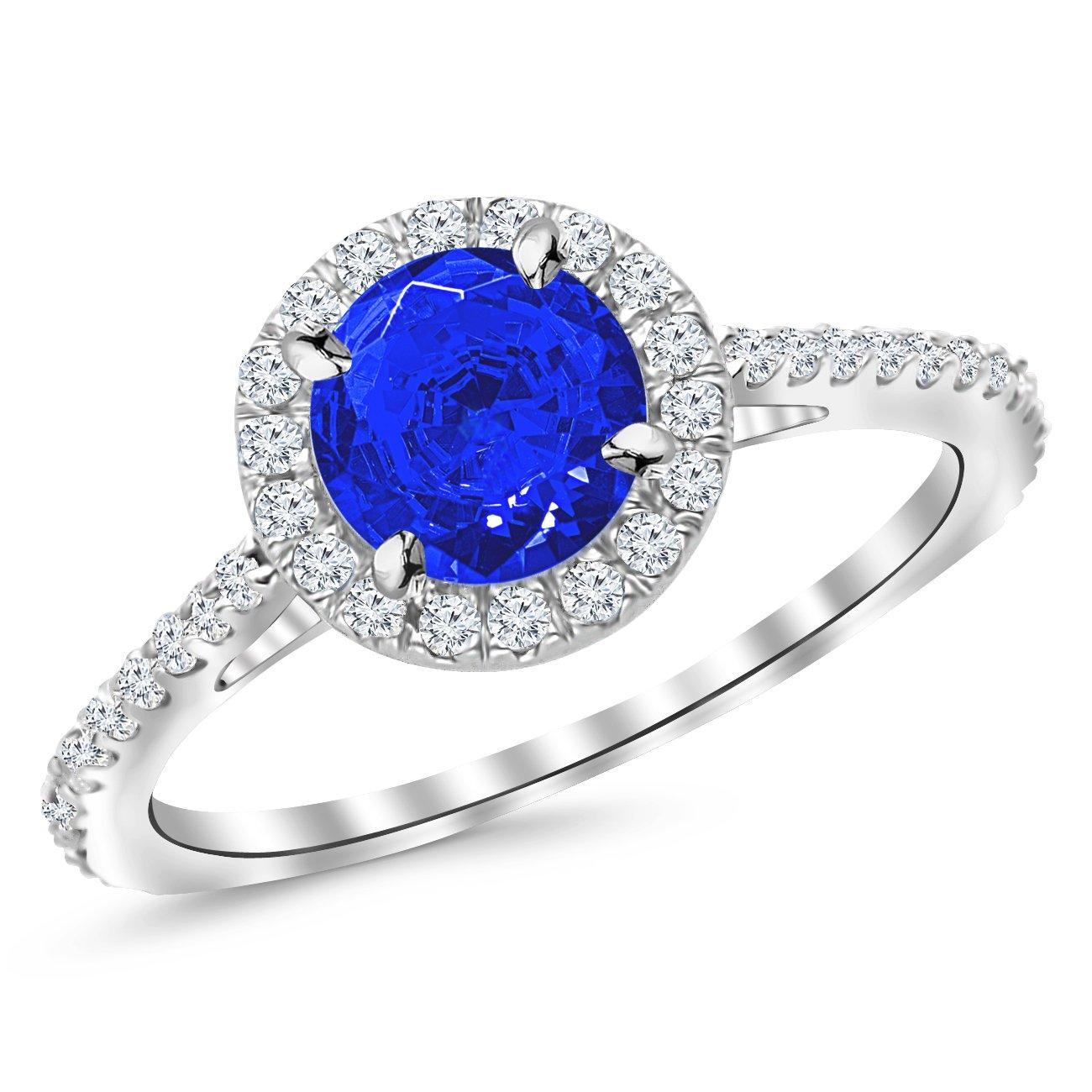 1.05 Ctw 14K White Gold Classic Round Diamond Engagement Ring w/ 0.75 Carat Blue Sapphire