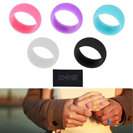 Amazon Com Silicone Wedding Rings For Women 5 Pack Safe