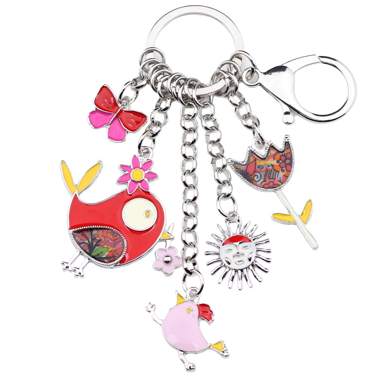 Bonsny Enamel Zinc Alloy Birds Flower Butterfly Key Chains Keyrings For Women Handbag Car Key Charms (Red)
