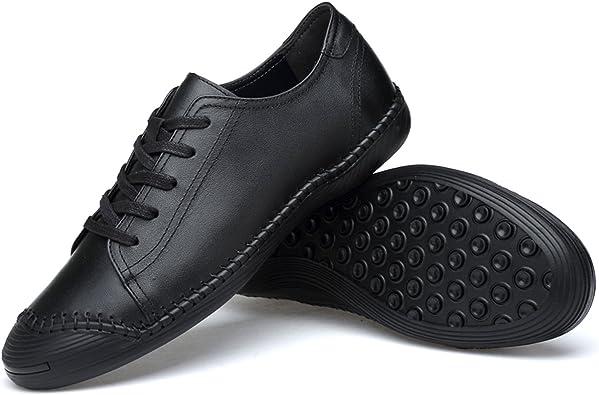Zapatos de Cuero para Hombres Mocasines Casuales Zapatos Planos Mocasines Cómodos Coser a Mano Antideslizante Zapatos de Conducción Barco de Conducción Ajuste Más Ancho Zapatos Ligeros de: Amazon.es: Zapatos y complementos