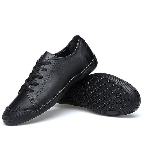 Zapatos de Cuero para Hombres Mocasines Casuales Zapatos Planos Mocasines Cómodos Coser a Mano Antideslizante Zapatos de Conducción Barco de Conducción ...