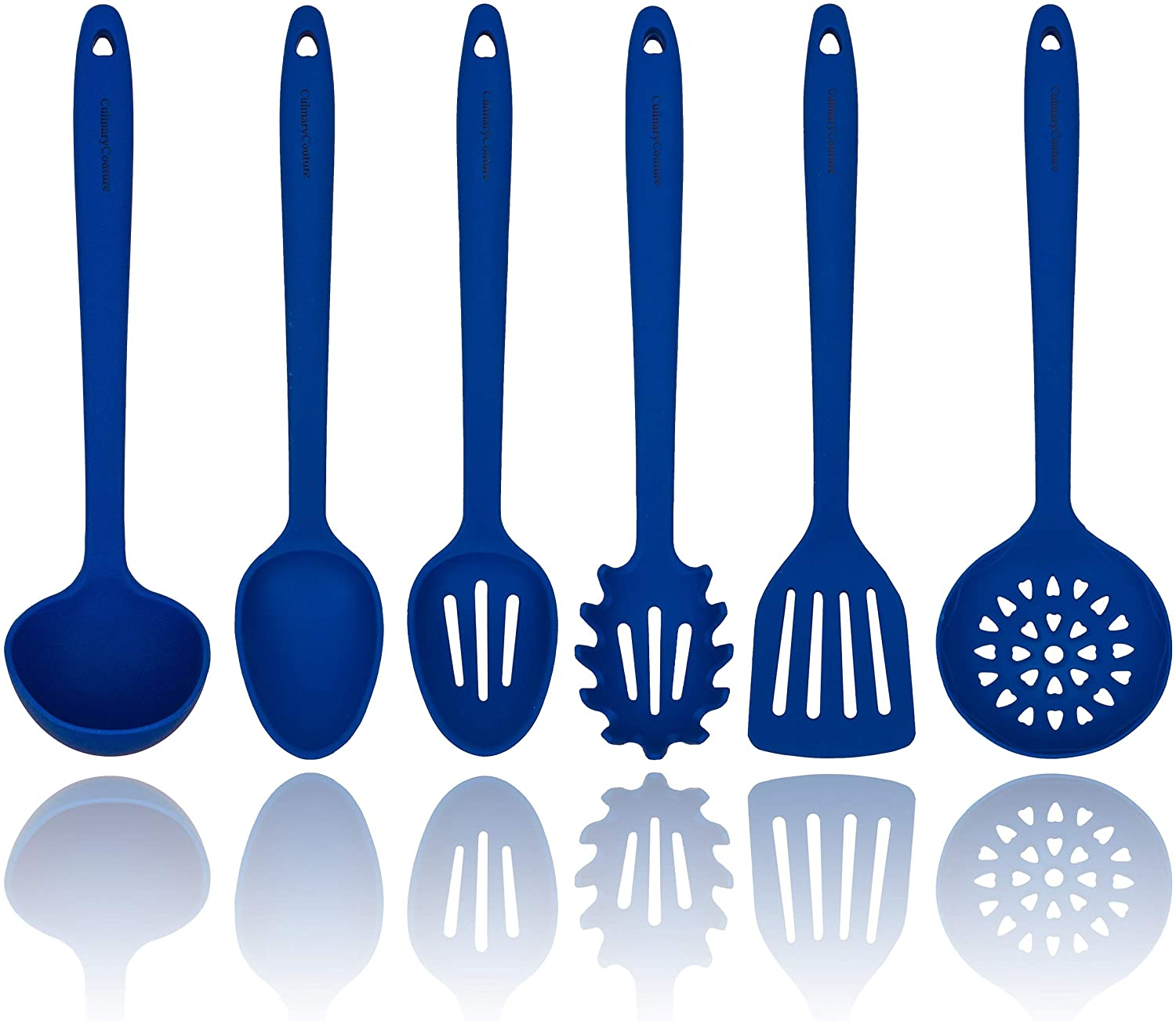 Blue Silicone Cooking Utensils Set – Sturdy Steel Inner Core – Spatula, Mixing & Slotted Spoon, Ladle, Pasta Server, Drainer – Heat Resistant Kitchen Tools - Bonus Recipe Ebook