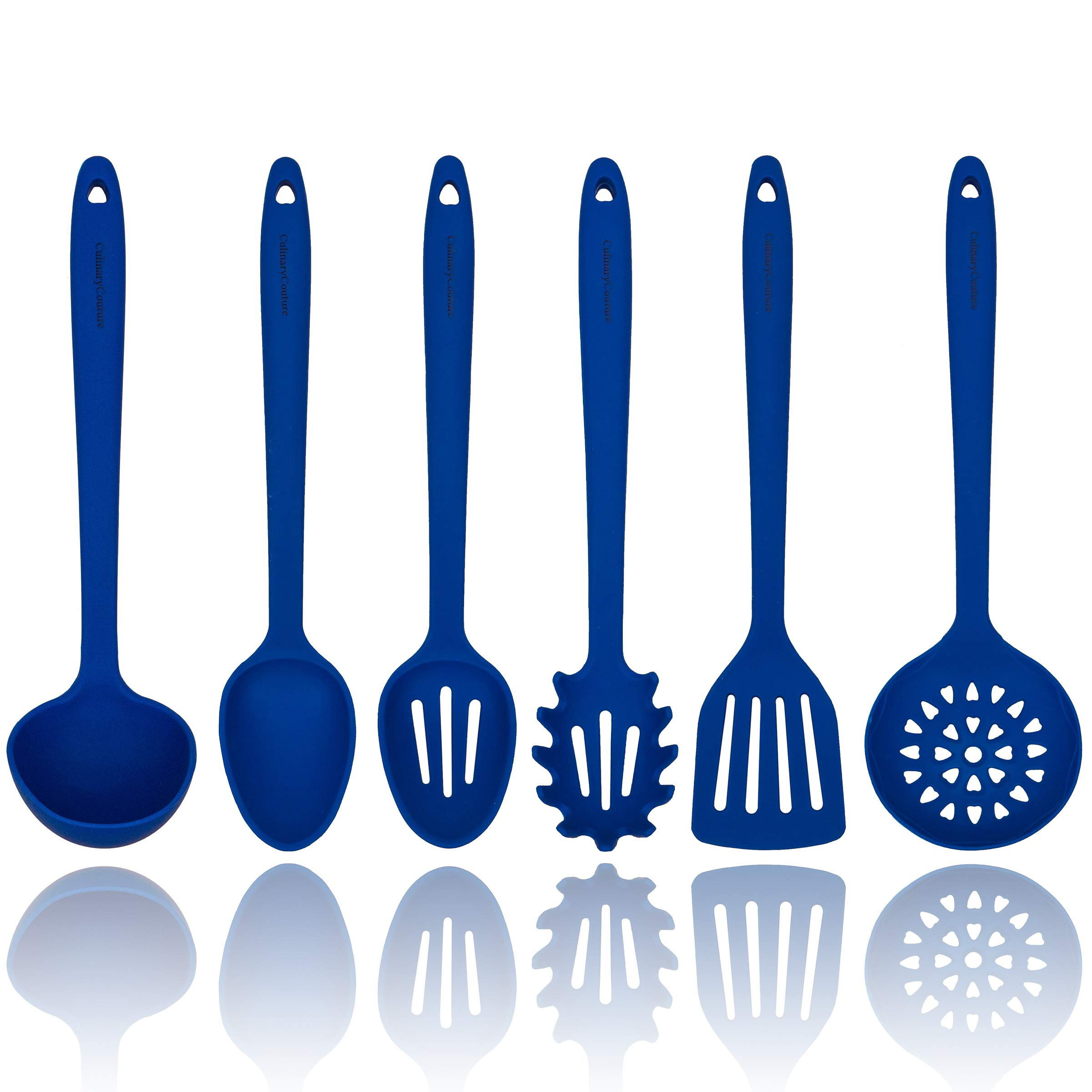 Blue Silicone Cooking Utensils Set - Sturdy Steel Inner Core - Spatula, Mixing & Slotted Spoon, Ladle, Pasta Server, Drainer - Heat Resistant Kitchen Tools - Bonus Recipe Ebook by Culinary Couture