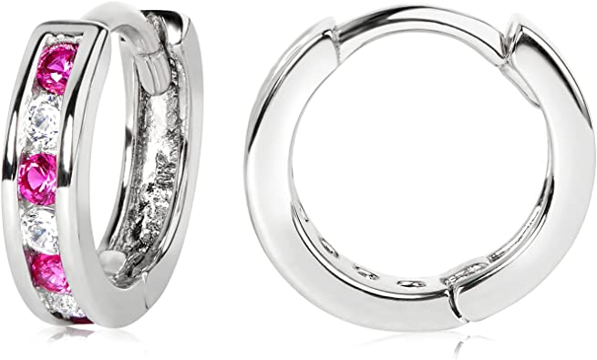 Olivias Collection 925 Sterling Silver Glossy Black Hoop Earrings