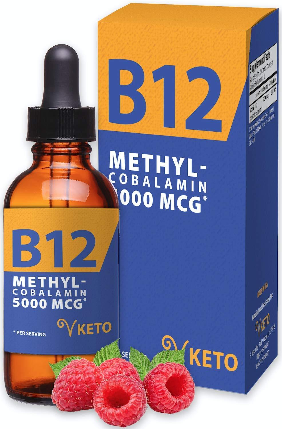 Vitamin B12 Sublingual Liquid Methyl B12 - Extra Strength 5000mcg Methylcobalamin - Organic, Vegan, Keto Liposomal Energy Drops