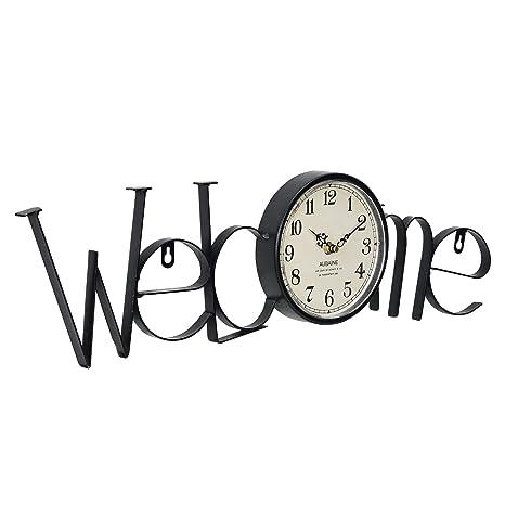 252108d11c1a en.casa ® Reloj de pared decorativo diseño Welcome (bienvenido ...