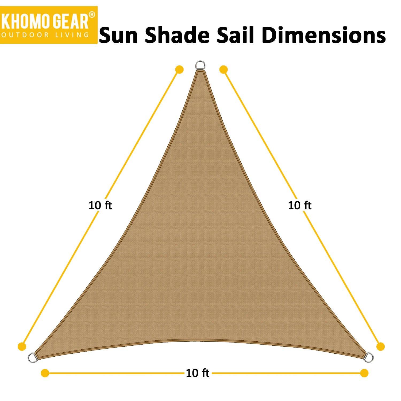 KHOMO GEAR Triangle Sun Shade Sail 10 x 10 x 10 Ft UV Block Fabric – Beige Tan
