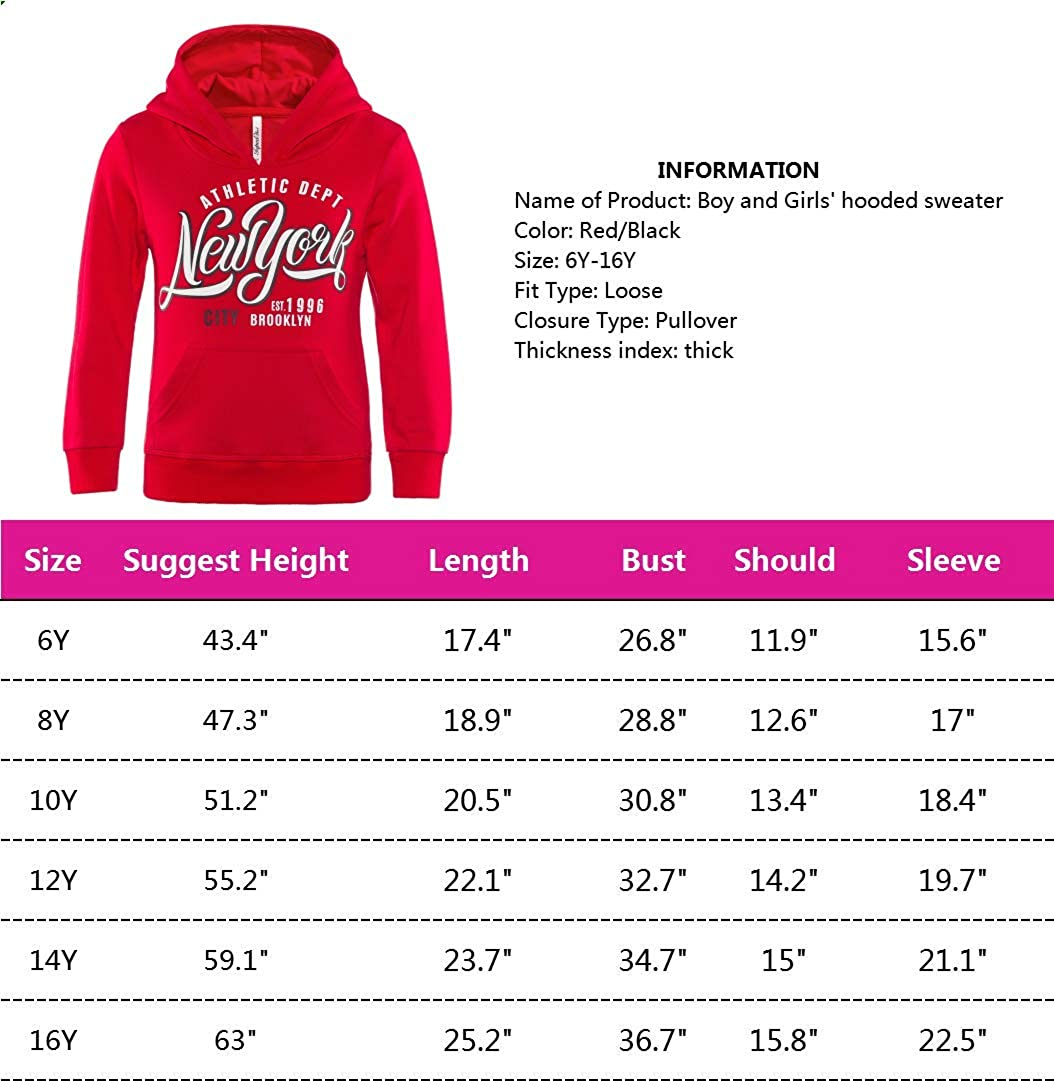 Boys and Girls Hoodies Teenager Kids Sweatshirt Little Boy Girl Cotton Pullover Hoodies New York City Letter Printed