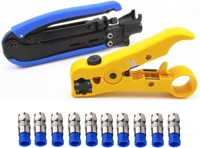 Coax Cable Crimper Coaxial Compression Connector Stripper Tool Set for RG6 RG59