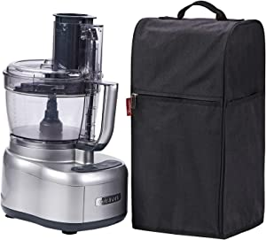 NICOGENA Food Processor Dust Cover with Accessory Pockets Compatible with Cuisinart Custom 8-13 Cup, Black (Dust Cover Only)