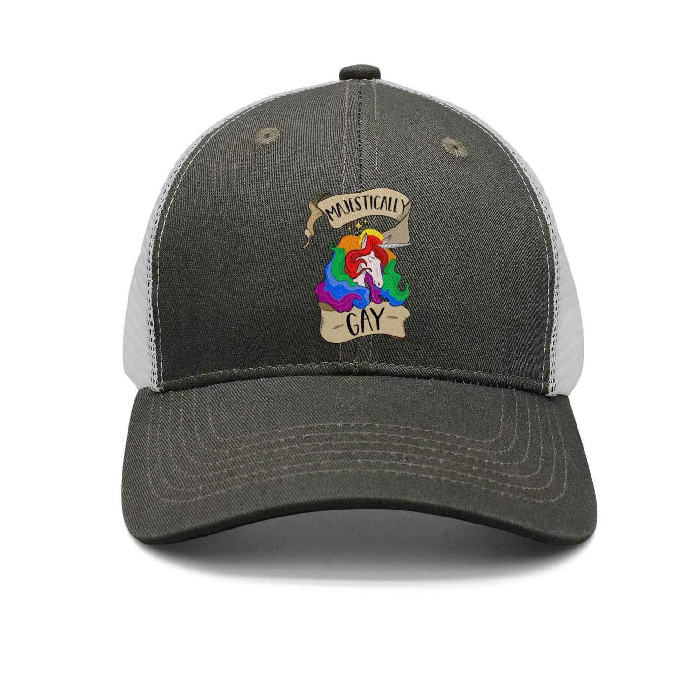 Pride Rainbow Text Black Trucker Hats Men//Women Street Dancing Hip Hop Cap