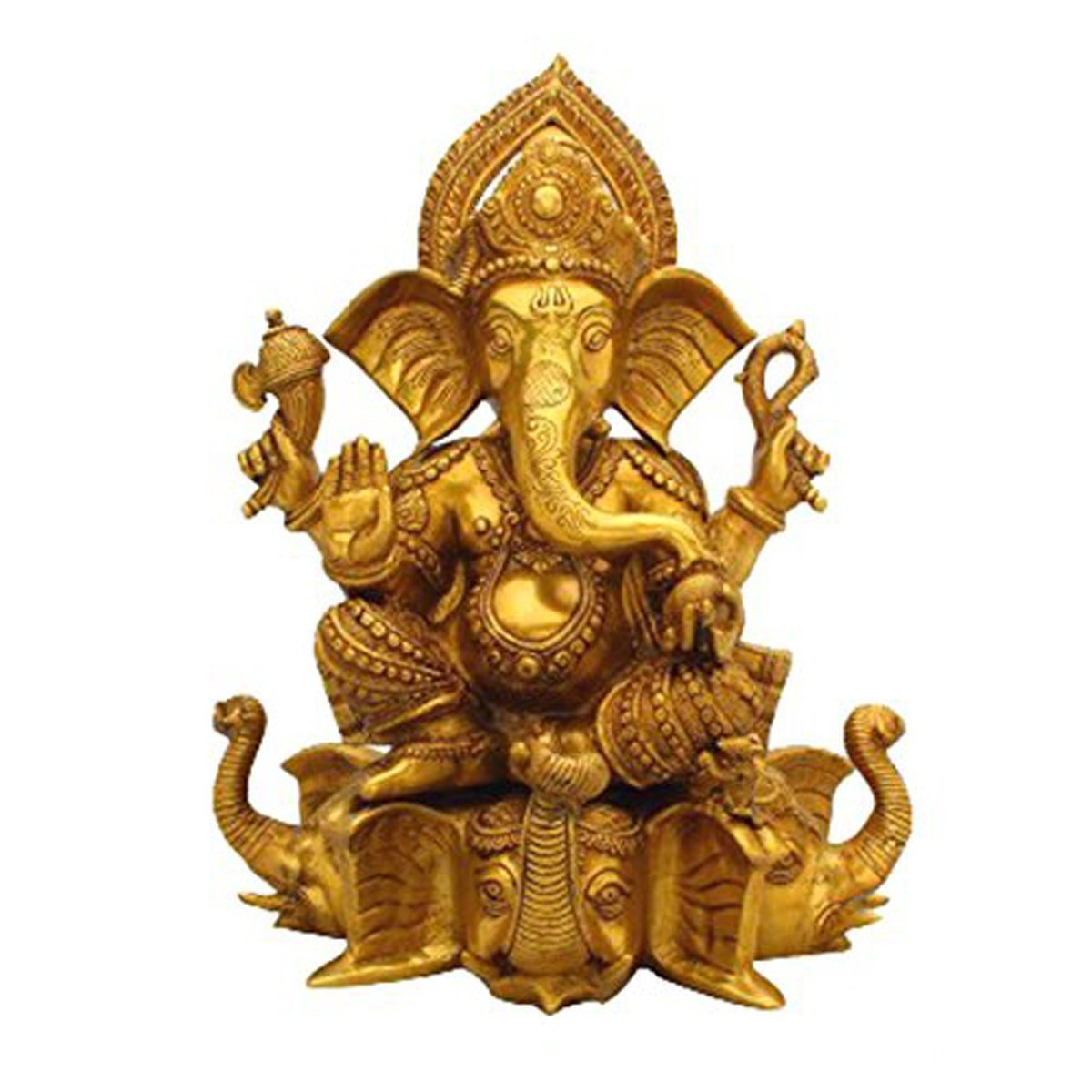 Idol Collections Ganesha Sitting On Elephant Trunk Brass Statue, Standard, Golden Yellow