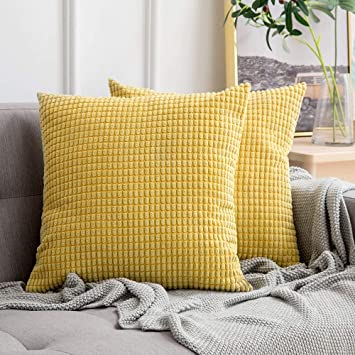 2 paquetes de fundas de cojines Cojines cómodos, grandes, de maíz, de pana, fundas de almohadas Fundas de almohadas decorativas de tiro cuadrado ...