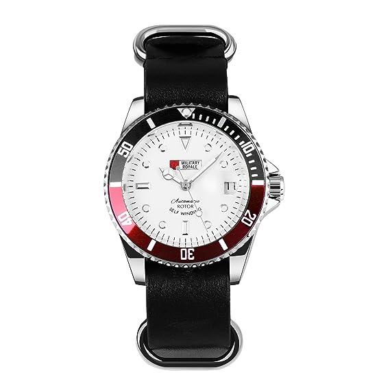 MILITARY ROYALE Reloj Negro Rojo para Hombre Correa Cuero ...