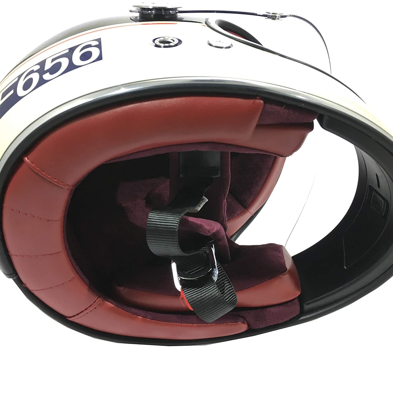 XS Cream Full Face Helmet Adult VIPER F656 VINTAGE Fiberglass Retro Style Motorbike Motorcycle Crash Helmet