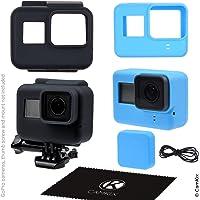 CamKix etuis en silicone compatible avec Gopro Hero 5 Black - 2 étuis de protection - Noir (Cadre) / Bleu (Caméra) - Protection contre la poussière, les rayures et les chocs légers