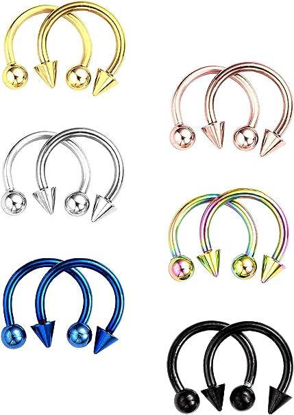 1 Stück Edelstahl Steel Hufeisen Bar Lip Nose Septum Ohrring Ring Stud Body//