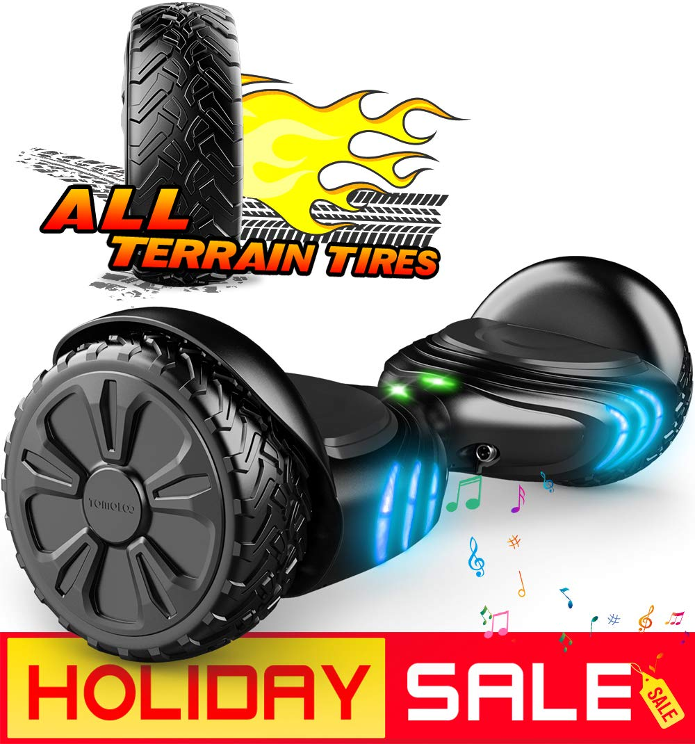 TOMOLOO Hoverboard UL2272 Certified Self-Balancing Scooter with RGB Lights Bluetooth Speaker Customizable App (Black)