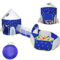 LOJETON 3pc Rocket Ship Kids Play Tent, Tunnel & Ball Pit with Basketball Hoop for Boys, Girls and Toddlers - Indoor…
