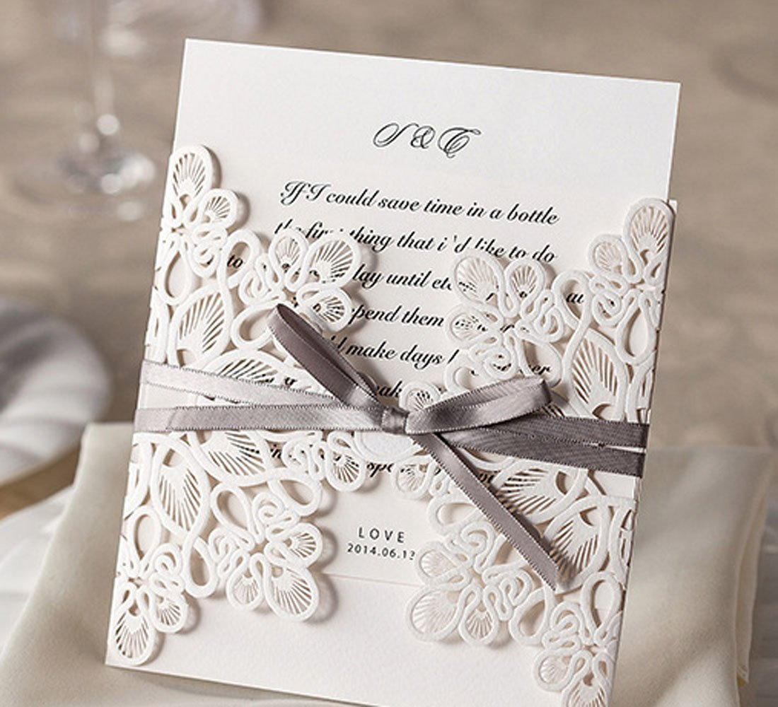 Amazon.com: Wishmade 50x Square Laser Cut Wedding Invitations Cards Kits  With Bowknot Hollow Cardstock For Marriage Engagement Bridal Shower Baby  Shower ...