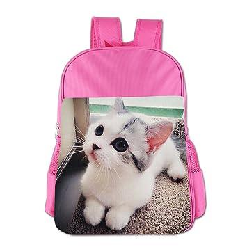 Ligero Niños Mochila un par de ojos grandes gato blanco niño bolsa para el almuerzo: Amazon.es: Hogar