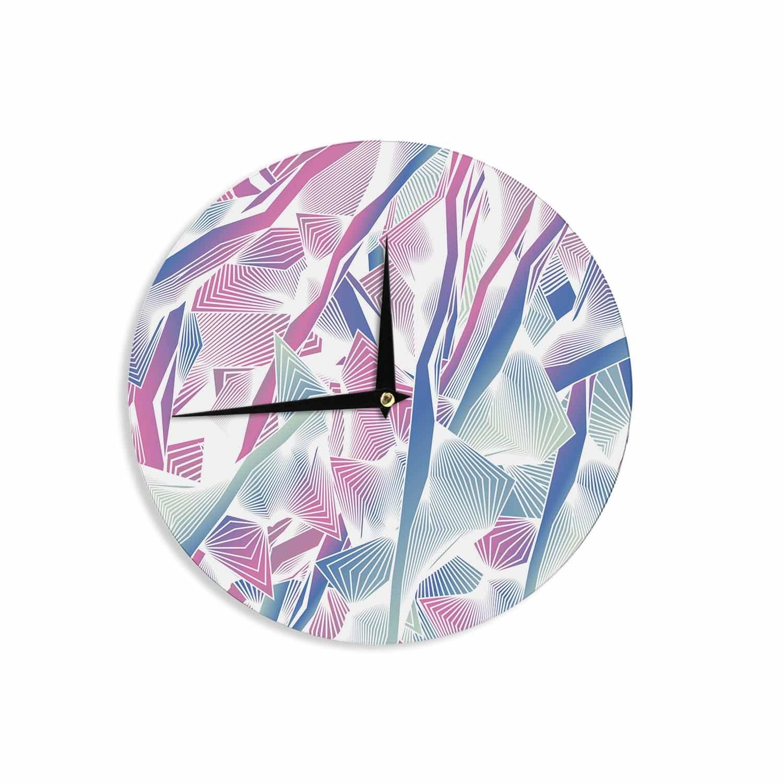 12 Wall Clock Kess InHouse Angelo Cerantola Jungle Lines Blue Pink Digital