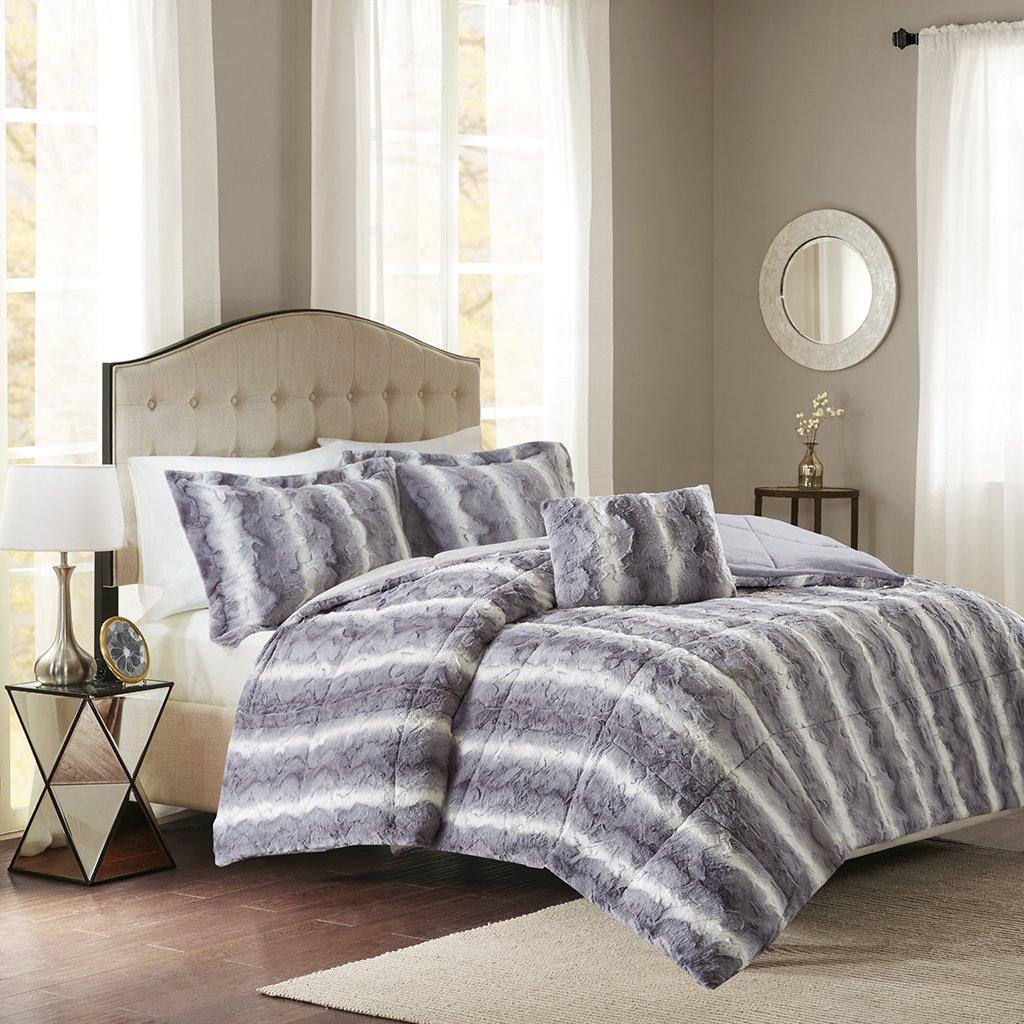 amazoncom zuri faux fur comforter set grey fullqueen home u0026 kitchen