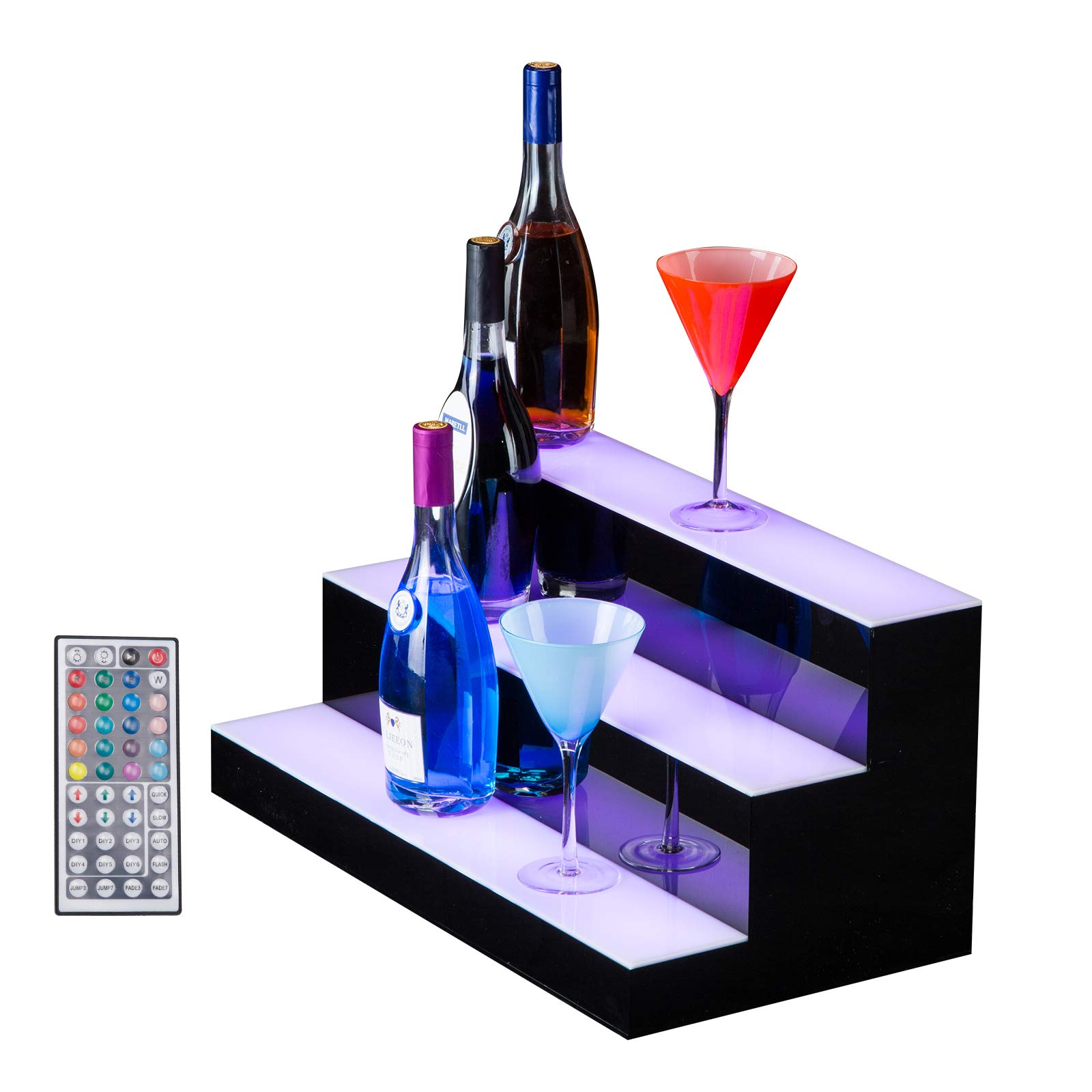 SUNCOO 24 Inch 3 Step LED Lighted Liquor Bottle Display Illuminated Bottle Shelf 3 Tier Home Bar Drinks Lighting Shelves with Remote Control by SUNCOO