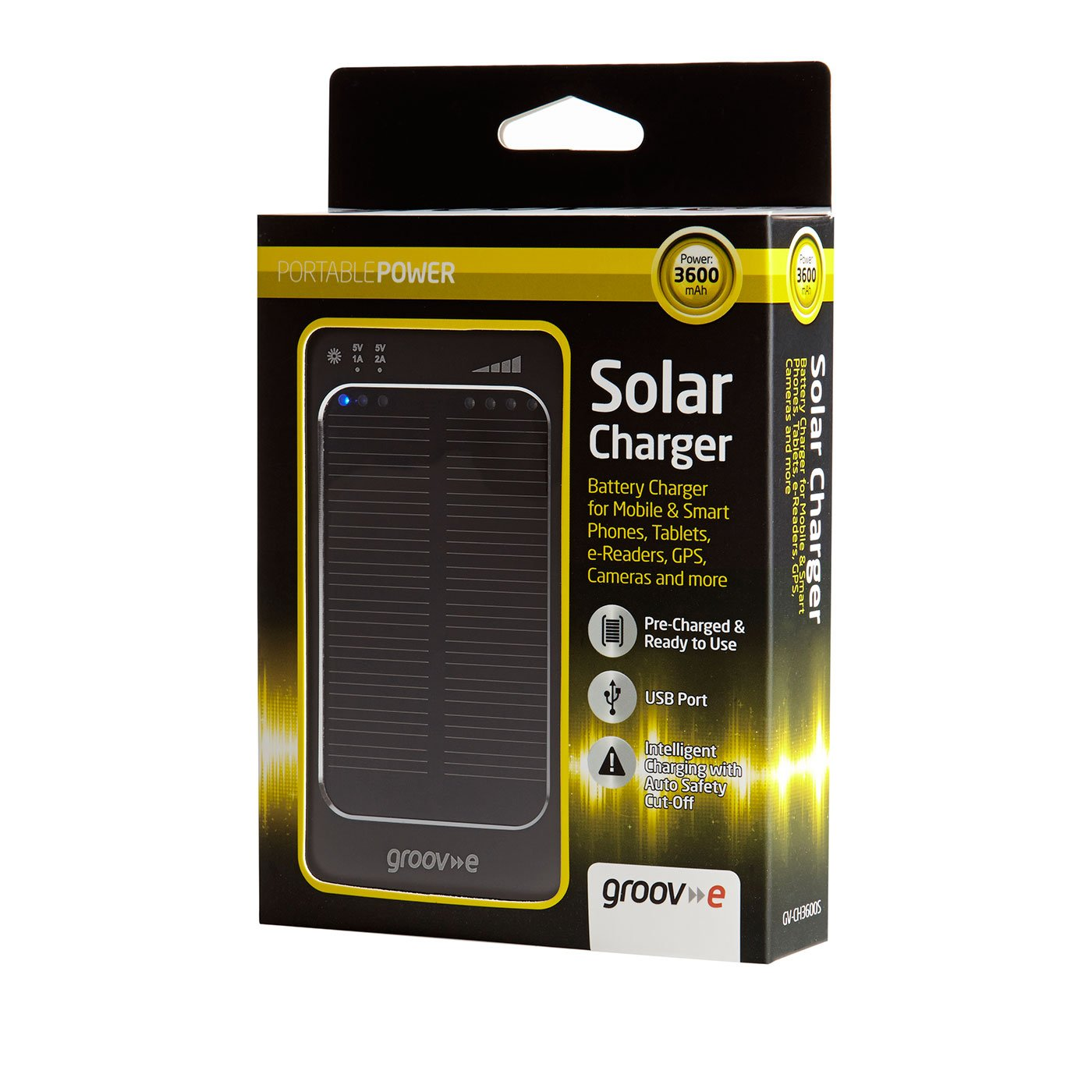 Groov-e GVCH3600S Portable Solar Charger 3600mAh