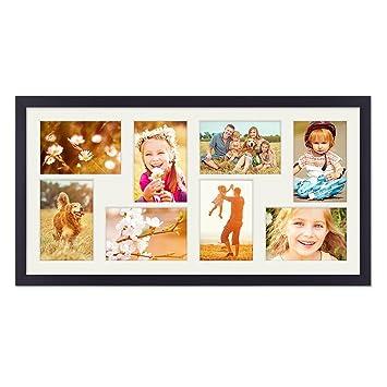 Photolini Fotocollage Bilderrahmen 30x60 Cm Modern Schwarz Collagerahmen Bildergalerie Rahmen Fur 8 Bilder Wechselrahmen Mit Passepartout