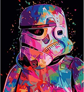 DIY Paint by Numbers for Adults Children Kids Beginner, Star Wars Figure Canvas Painting by Numbers Kits, Acrylic Oil Painting Arts Craft for Living Room Wall Decor,16x20 Inches Without Framed