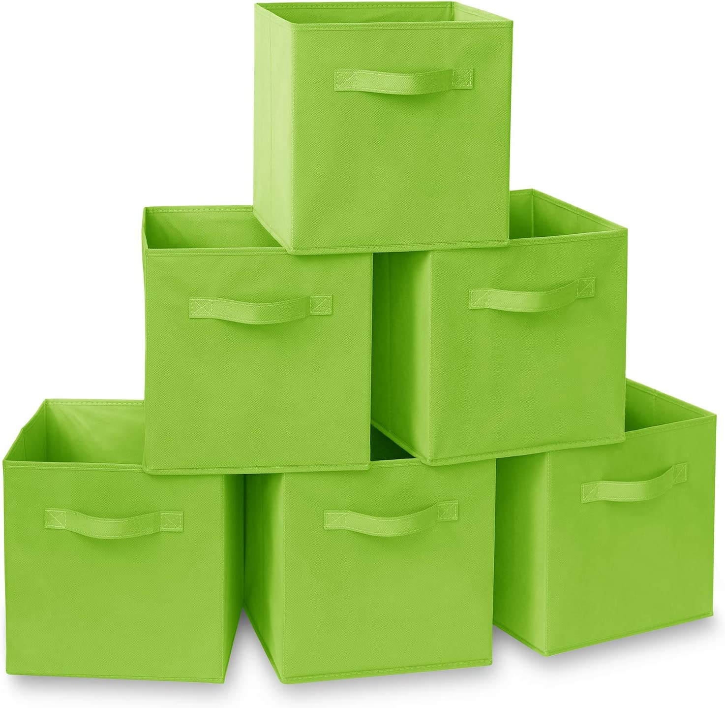 """Casafield Set of 6 Collapsible Fabric Cube Storage Bins, Lime Green - 11"""" Foldable Cloth Baskets for Shelves, Cubby Organizers & More"""