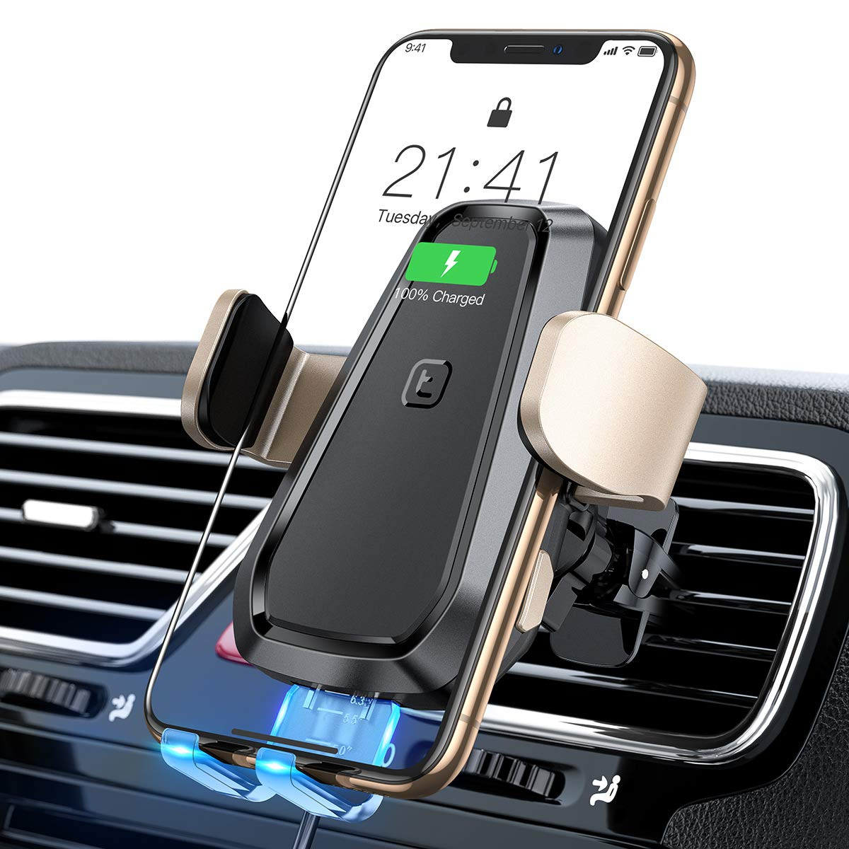TORRAS Wireless Car Charger Mount, Auto Clamping 10W/7.5W Qi Fast Wireless Charger and Air Vent Phone Holder Compatible with iPhone Xs Max/XR/Xs/8/8 Plus, Samsung Galaxy S10e/S10/S10 Plus/S9/S8+/Note8