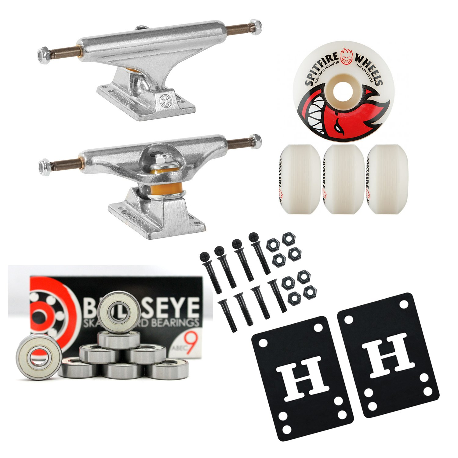 INDEPENDENT 139mm Skateboard TRUCKS 52mm SPITFIRE Wheels, Bearings PACKAGE by Independent Trucks