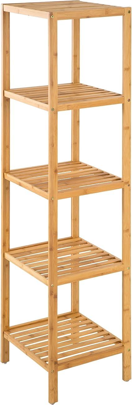 TecTake Estantería de Madera bambú - Varios Modelos - (5 Niveles | 33 x 33 x 141 cm | No. 401646)