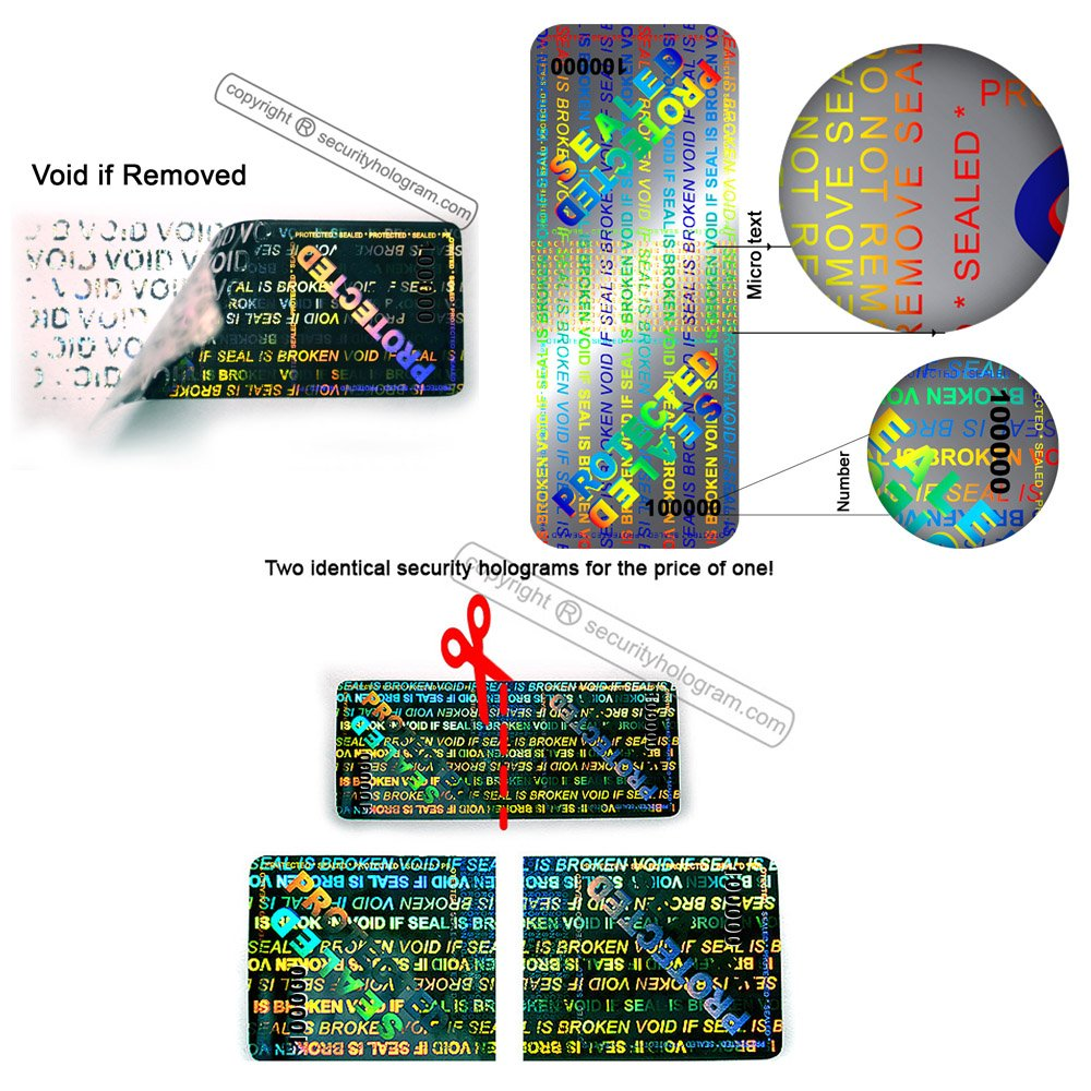 60 3D Stickers Protective Security Holograms ''Seal and Protect'' VOIDABLE!! Tamper Evident With DOUBLE SERIAL NUMBERS 2'' x 0.79'' (50 x 20 mm) by Security Hologram® (Image #4)