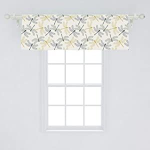 """Ambesonne Dragonfly Window Valance, Colorful Silhouettes of Exotic Insects Open Wings Beauty of Nature, Curtain Valance for Kitchen Bedroom Decor with Rod Pocket, 54"""" X 18"""", Green Mustard"""
