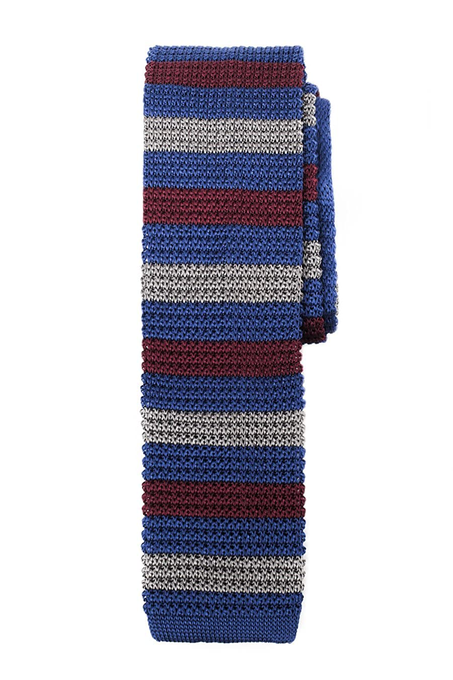 Ribbed Silk Knit Tie Blue Silver Burgundy Stripe