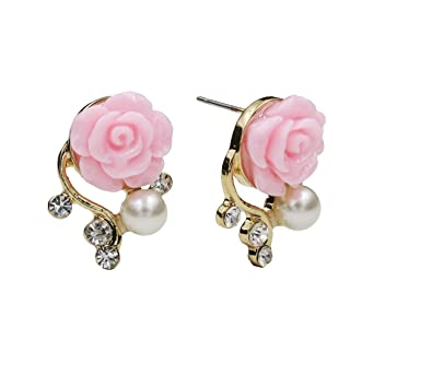 d66f1f25c 18k Gold Plated Flower Stud Earrings with Australian Crystals (Pink Rose  Surr.