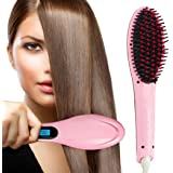 PrettyFirst Hair Straightener Brush,Massager Straightening Irons Instant Magic Silky Straight Hair Styling, Heating Detangling Hair Comb (Pink)